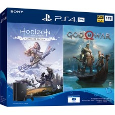 PlayStation 4 Pro Bundle (1 Tb, черный, God of War, Horizon Zero Dawn Complete Edition), 9994602, Консоли