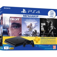 PlayStation 4 SLIM Bundle (1 Tb, Detroit, Horizon Zero Dawn Complete Edition, The Last of Us, PSPlus 3 месяца), 9926009, Консоли