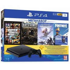 PlayStation 4 SLIM Bundle (1 Tb, GTA V, Days Gone, Horizon, Fortnite, PSPlus 3 месяца), 9343301, Консоли
