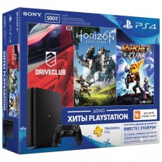PlayStation 4 SLIM Bundle (500 Gb, DriveClub, Horizon, Ratchet), , Консоли
